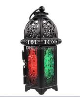 Hausgarten Klassik marokkanischen Stil Kerzenhalter 8.3 * 7.2 * 16.5CM Votiv-Eisen Glas Kerzenständer Kerze Laterne Heim Hochzeitsdekoration