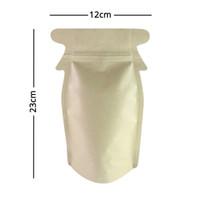 Yüksek kalite 12x23 cm Kraft / Gümüş / Kraft şişe kavanoz şekli Kraft Stand Up Zip Kilit çanta Toptan