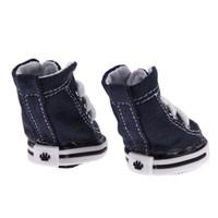 4 Pcs Cão Sapatos Esporte Antiderrapante Sneaker Denim Calçados Esportivos Da Lona Para O Cão Teddy Yorkie Botas para Cães Gatos