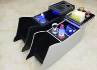 Boîte de console de voiture multifonctionnelle de haute qualité, boîte de rangement d'accoudoirs avec USB, lumière de l'atmosphère pour Toyota Alphard 20 2008-2013