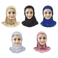 새로운 솔리드 컬러 Bandanas 무슬림 어린이 헤드 스카프 소녀 아이들을위한 간단한 소프트 히 자브 목도리 10colors 0-8years