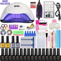 Super Manicure Set per unghie Kit con LED Nails lampada di Nail Drill macchina del polacco di chiodo acrilico corredo di arte corredo dell'insieme di attrezzi Nail