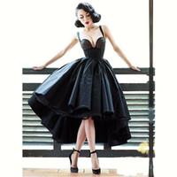Seksi Küçük Siyah Elbise Kapalı Omuz Gelinlik Kısa Ön Uzun Geri Backless Son Kıyafeti Tasarım Yüksek Düşük Kokteyl Homecoming Elbise