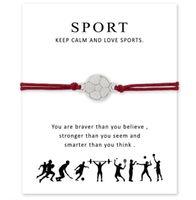 Yeni Spor Hediye kartı futbol hokey jimnastik voleybol beyzbol basketbol çekicilik bilezik Kadın Erkek Takı A0110 ile dilek bilezik sarmak