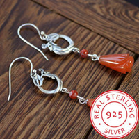 925 Silver Natural South Red Agate Phoenix Magnolia Earrings...