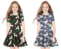 Ragazza Summer Dress 2019 3D Cartoon Stampa Kid Abito manica corta Cute Girl Princess Dress Vestido Abiti per bambini per le ragazze