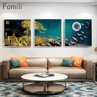 Nordic Decorative Abstract Marble With Blue Gold Paint Canvas Painting Poster And Print Picture Wall Art Living Room Home Décor
