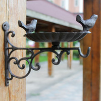 Wall Bracket Garden Bird Feeder Birdbath Vintage Brown Cast ...