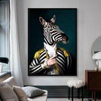 Noir et blanc Classy Lion Tigre éléphant girafe Loup mur Cheval Art Affiches et animaux Reproduction portant un chapeau de toile Peinture