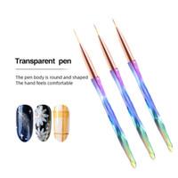 3Pcs / set UV Gel Pinsel Linie Liner Anstrich-Feder-Acryl Zeichnung Pinsel für Nägel Gradient Strass Griff Maniküre-Nagel-Kunst-Werkzeug