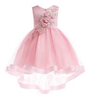 Infante pétalos de flores niña vestido de los niños del niño de la dama de honor del vestido elegante Vestido Infantil formal rojo del vestido de partido del vino