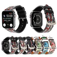 Padrão Cobra Impressão Watch Band para Correias Apple Watch 1 2 3 4 5 couro para iWatch 38 milímetros 40 milímetros 42 milímetros 44 milímetros Assista bandas Acessórios