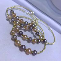 Красивые природные 6 бусинки 7-8мм цвет пресноводная перлы ювелирных изделий способа браслета