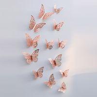 12 adet / takım Yeni 3D Hollow Kelebek Duvar Çıkartmaları Dolabı Parti Düğün Bebek Odası Dekor DIY Ev Dekorasyonu C23