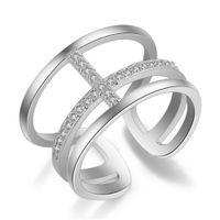 Cruz dedo anelar para mulheres Zirconia Cubic ajustável Tamanho anéis de coquetel Casual Partido moda jóias presente de prata cores 127