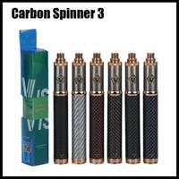 Углеродный Spinner 3 Аккумулятор 1650mAh Переменное напряжение Нижний Spinner Vape Pen Аккумулятор Эго Резьба Vision Twist Vaporizer