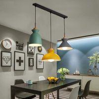 Набор 3 Dining Настольной лампы Светых миндальный Красочный светодиодные Современный подвесной светильник Hanglamp для кухни острова потолочного освещения в помещении