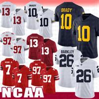 Bianco Alabama Crimson Tide Football Jersey 13 Tua Tagovailoa Michigan Wolverines 10 Tom Brady Penn State Nittany Lion 26 Saquon Barkley WDCE