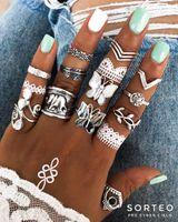 미국 창고 Boho 스타일 손가락 반지 세트 귀여운 나비 코끼리 모양의 조인트 너클 네일 성명 반지 여성을위한 세트