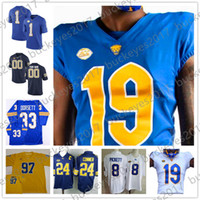 Custom Pittsburgh Panthers 2019 NCAA Pitt Qualsiasi Nome Numero Stitched Navy Royal White Gold # 13 Dan Marino College Football Maglie