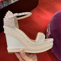 Мода женщины Красное дно обувь Platfrom клинья сандалии Madmonica лодыжки ремень Шипы высокие каблуки дамы Гладиатор сандалии EU35-42