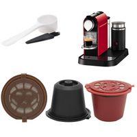 3pcs / set de filtro reutilizable 20 ml de café de la cápsula de café para Nespresso Con cuchara de plástico Cepillo de limpieza de utensilios de cocina Accesorios