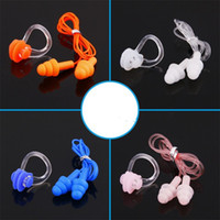Nadar tapón para los oídos baño impermeable clip nasal con cuerda Gel de sílice niños y mujeres portátiles rosa naranja 1 25wrC1