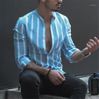 Shirts Fashion vrac Cardigan Hauts Casual Mens Dress Shirt Mens Designer rayé