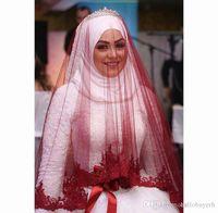 جديد طبقة واحدة الدانتيل حافة مسلم الزفاف الحجاب الخصر طول تول السعودي عرس عرس الحجاب شحن مجاني
