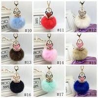 Fox Fur брелок Подвеска Кристалл Fox Head Key Ring Пушистых искусственный мех Pom Pom Keychains сумка автомобиль Подвесной партия Фавор 20color GGA2756