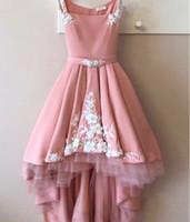 Goedkoop hoog roze en wit kant party prom jurken vierkant gedrapeerde prom avondjurken formele bruidsmeisje homecoming jurk goedkope 2020