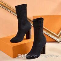 2019 مثير امرأة الأحذية في الخريف والشتاء محبوك مطاطا الأحذية الفاخرة مصمم قصيرة الأحذية الجوارب الأحذية كبيرة الحجم 35-42 أحذية عالية الكعب