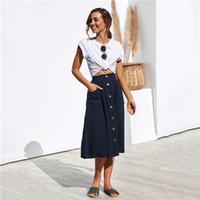 Renk Orta Buzağı Casual Giyim Kadın Yaz Tasarımcı Procket Etekler Düğme Moda Kadın Gevşek Elbiseler Katı