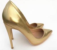 2019 nuevo estilo Golden Sheepskin 8cm 12cm 10cm tamaño grande 44 Cusp Zapatos individuales Fondo rojo Zapatos de tacón alto Novia de boda de tacón fino