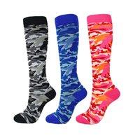 Compression Socks Unisex Esecuzione Calze calze sportive di compressione di sostegno esterna Camouflage corsa pressione lunga