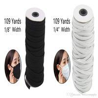 Noir Blanc Couleur 109 mètres Longueur DIY tressé élastique bande cordon tricot Bande À Coudre 1/8 1/6 1 / 4in W largement largement utilisé pour masques
