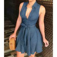 여자 드레스 버튼 데님 미니 드레스 숙녀 여름 민소매 벨트 청바지 긴 탑 셔츠 드레스 아시아 크기