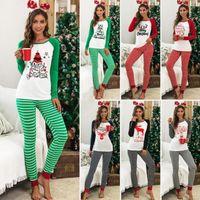 Natale Payamas Imposta di Natale Lettera Homewear Maglia a manica lunga a righe Top Pantaloni Pigiami O inverno del collo Payamas Sleepwear da notte C6581