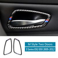 Poignée de porte en fibre de carbone Styling Bâches garniture de porte Bowl Autocollants Pour BMW E92 Garniture E93 Série 3 Intérieur Accessoires Auto 2005-2012