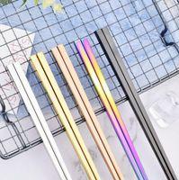 304 de aço inoxidável pauzinhos 5 cores pauzinhos quadrados estilo Alto grau talheres home hotel simples utensílios de mesa LXL1209-L