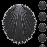 White Ivory Wedding Veils 1 Tier Appliques Lace with Comb Bridal for Girls Cathedral Luxury Long Elbow Length