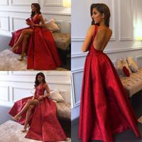 Robes de soirée de luxe en dentelle 2019 Rouge col en V appliques de dentelle dos nu brillante paillettes robe de bal avec fente latérale