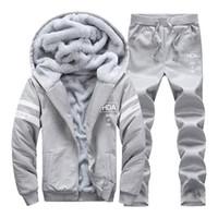 ASALI 2018 Hommes Hoodies Moletom Homme Chaud Épais Velours Solide Sweat Survêtement Survêtement Hommes Hoodies Et Sweat-shirts Veste + Pantalon 2 PC