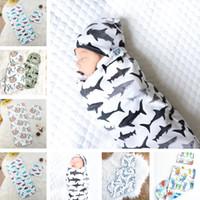 Bebek Uyku Tulumu Şapka Seti Yenidoğan Dinozor Uyku Sacks Bebek Swaddles Köpekbalığı Çiçek Baskı Kundak Battaniye E22602 Caps