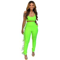 Sexy Neon Verde Pena Emendado Two Piece Set Mulheres Spaghetti Strap Backless Top Colheita E Bodycon Calças Moletons 2 Pcs Clube Outfits