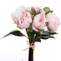Touch Natural PU PU Pivoine Buds Bouquet Bouquet Mariage Mariage Holding Bridal Main Main Tenir Fleurs Accueil Ornement décoratif