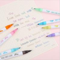 Цвет Dreamy Флуоресцентная ручка с двумя линиями Флуоресцентный маркер Металлическая ручка