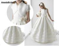 Ceket Saten Çiçek Kız Elbise Düğün Partisi 2018 ile Küçük Kız Amandabridal Balo Beyaz İlk Communion Elbise