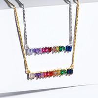 Arc-en-Zircon Collier cristal de diamant Pendentif Parti Bijoux Personnalité Argent plaqué or 18 carats Collier ras du cou Femmes cadeau d'anniversaire