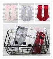 Sevimli Kız Prenses Şerit Yaylar Çorap Yenidoğan Bebekler Bebek Big Bow Diz Uzun Çoraplar Kid Çocuk Yumuşak Dantel fırfır Bebek Çorap E3602